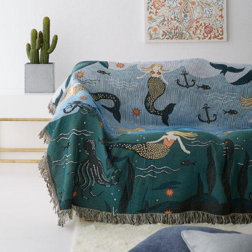 Mermaid & Sea Life Throw Blanket Cover