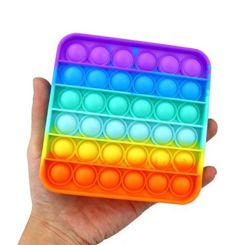 Pop It Bubble Fidget Toy - Square Rainbow