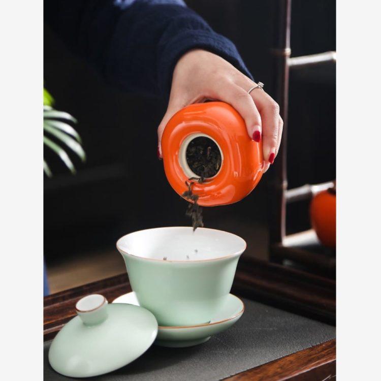 Persimmon Ceramic Tea Storage Jar