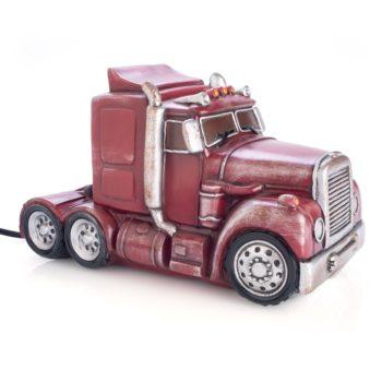 Red Metal Look Truck Table Lamp