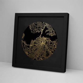 Auckland Mapscape Foil Print - Black Framed