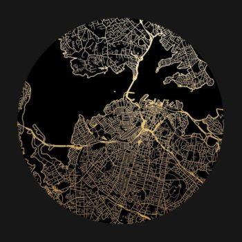 Auckland Mapscape Foil Print - Black