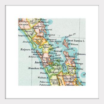 Auckland Vintage Map Print - Framed