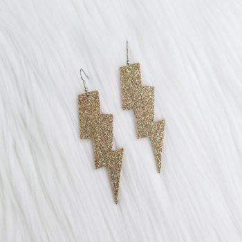 Gold Glitter Lighting Bolt Leather Earrings