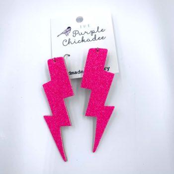 Hot Pink Glitter Lighting Bolt Leather Earrings