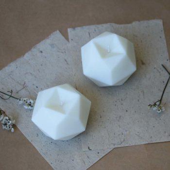 White Gem Candle - Set of 2