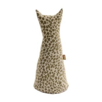 Animal Print Cat Doorstop – Khaki Green