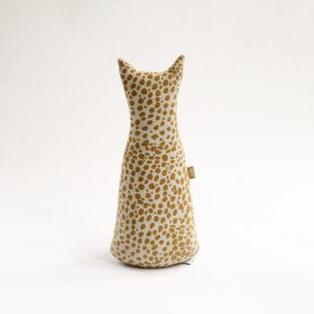 Animal Print Cat Doorstop – Mustard